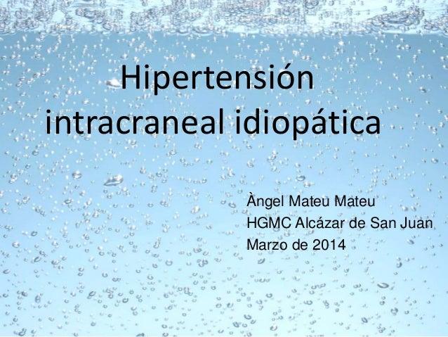Sindrome de hipertension endocraneana idiopatica pdf
