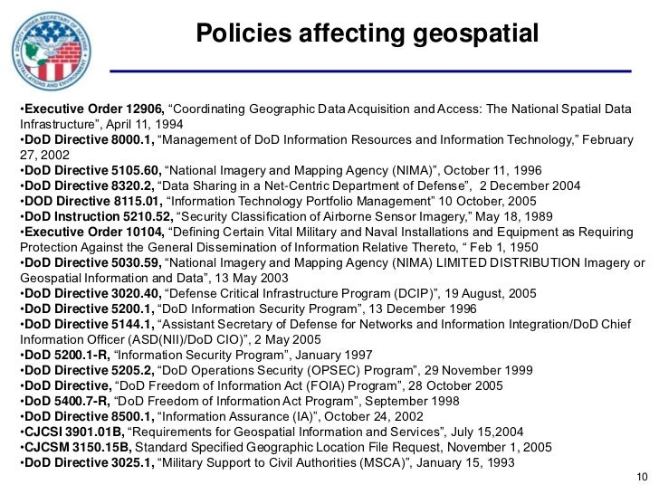 """Policies affecting geospatial•Executive Order 12906, """"Coordinating Geographic Data Acquisition and Access: The National Sp..."""