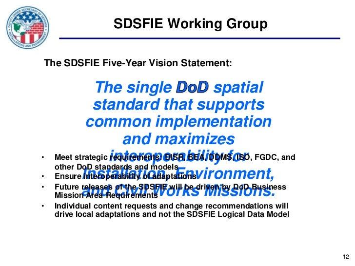 SDSFIE Working GroupThe SDSFIE Five-Year Vision Statement:               The single                      spatial          ...