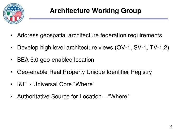 Architecture Working Group• Address geospatial architecture federation requirements• Develop high level architecture views...
