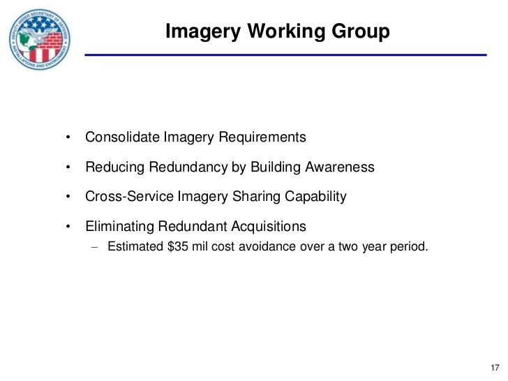 Imagery Working Group• Consolidate Imagery Requirements• Reducing Redundancy by Building Awareness• Cross-Service Imagery ...