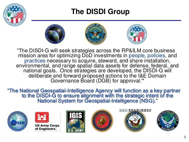 """The DISDI Group   """"The DISDI-G will seek strategies across the RP&ILM core business    mission area for optimizing DoD inv..."""