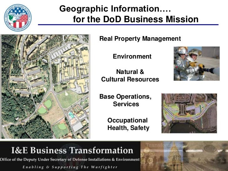 Geographic Information….  for the DoD Business Mission        Real Property Management            Environment             ...