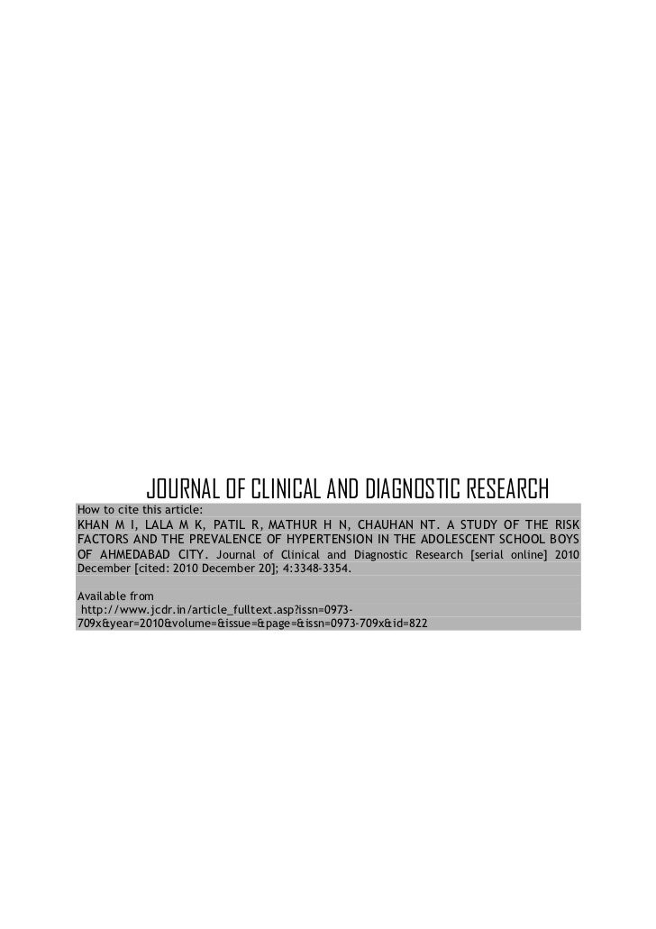 JOURNAL OF CLINICAL AND DIAGNOSTIC RESEARCHHow to cite this article:KHAN M I, LALA M K, PATIL R, MATHUR H N, CHAUHAN NT. A...