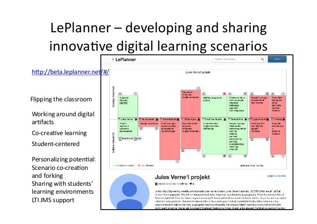 LePlanner  –  developing  and  sharing   innova/ve  digital  learning  scenarios   Co-‐crea/ve  learn...