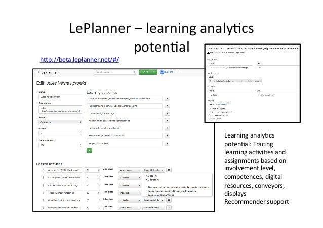 LePlanner  –  learning  analy/cs   poten/al   Learning  analy/cs   poten/al:  Tracing   learning  ac/v...