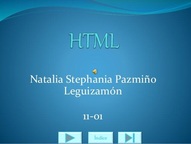 Natalia Stephania Pazmiño Leguizamón 11-01 Índice