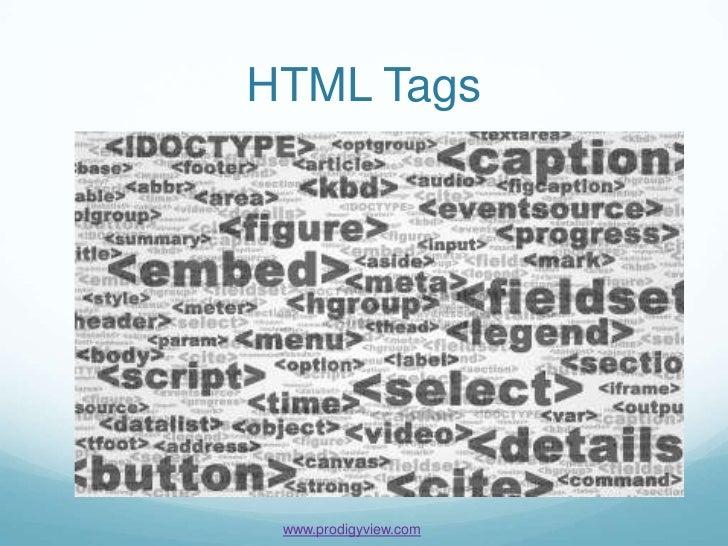 HTML Tags www.prodigyview.com