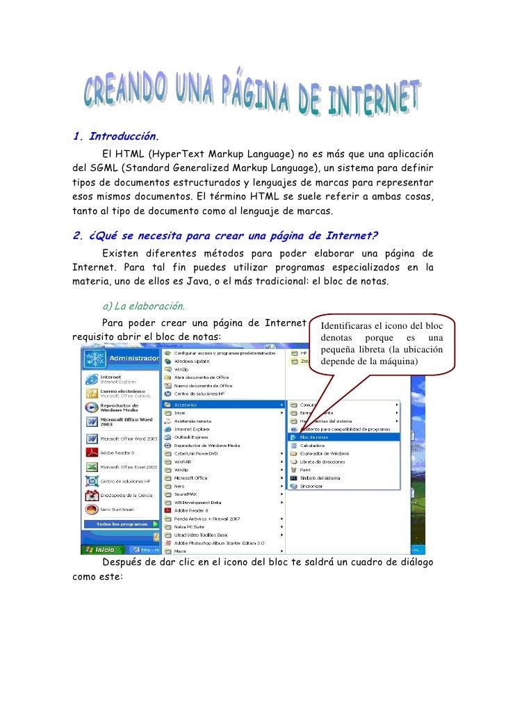 1. Introducción.       El HTML (HyperText Markup Language) no es más que una aplicacióndel SGML (Standard Generalized Mark...