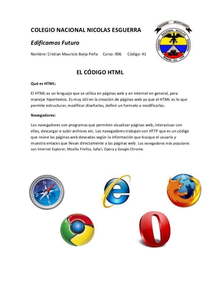 COLEGIO NACIONAL NICOLAS ESGUERRAEdificamos FuturoNombre: Cristian Mauricio Borja Peña        Curso: 906     Código: 41   ...
