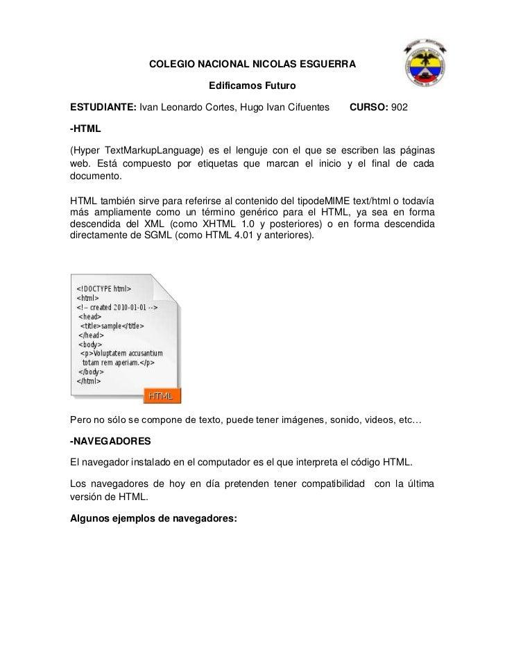 COLEGIO NACIONAL NICOLAS ESGUERRA                              Edificamos FuturoESTUDIANTE: Ivan Leonardo Cortes, Hugo Iva...