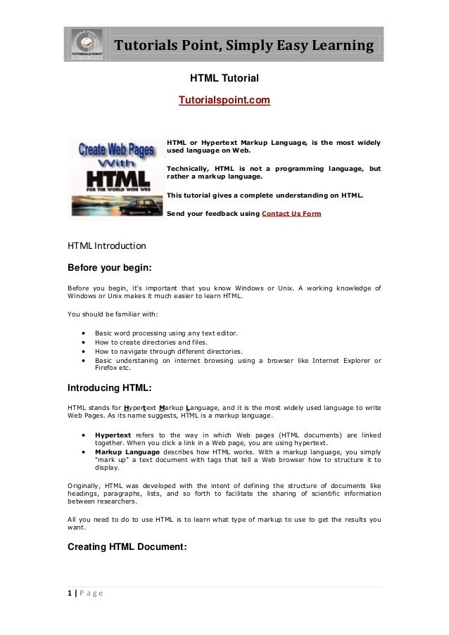 Tutorials Point, Simply Easy Learning                                     HTML Tutorial                                  T...