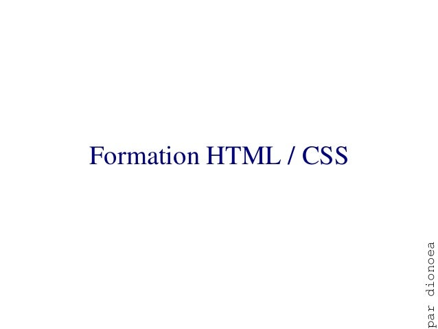 Formation HTML / CSS                       ar dionoea