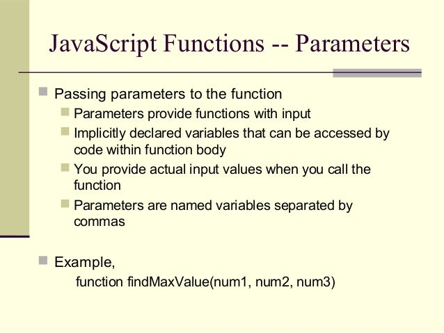 Writing Your Own JavaScript Functions