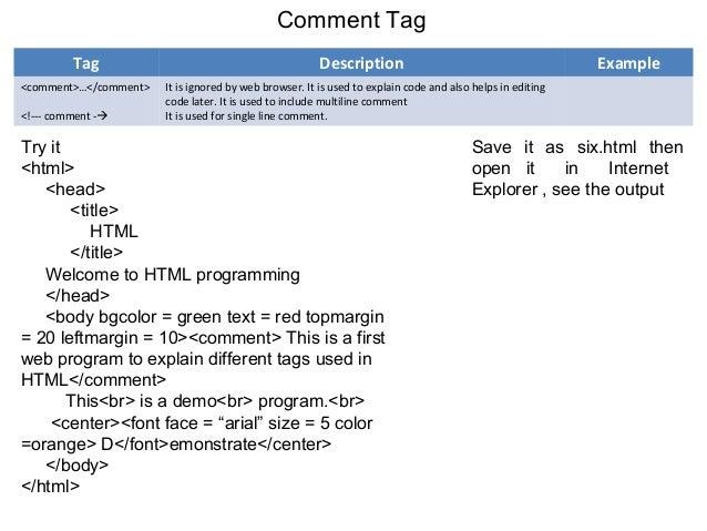 html single line comment