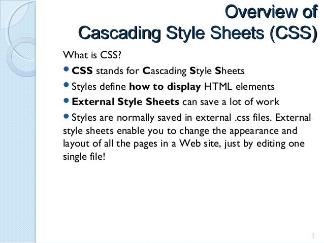 Cascading style sheets css help What is style