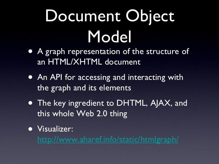 Document Object Model <ul><li>A graph representation of the structure of an HTML/XHTML document </li></ul><ul><li>An API f...