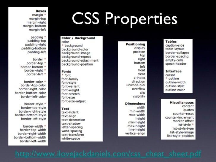CSS Properties http://www.ilovejackdaniels.com/css_cheat_sheet.pdf
