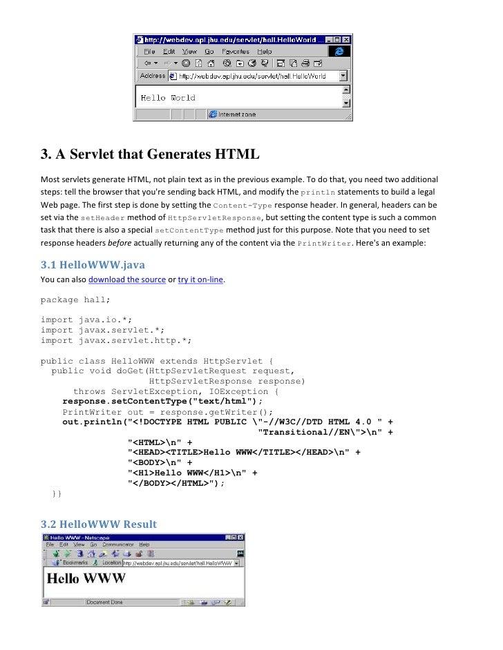 Html Servlet Example