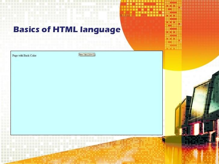 Basics of HTML language