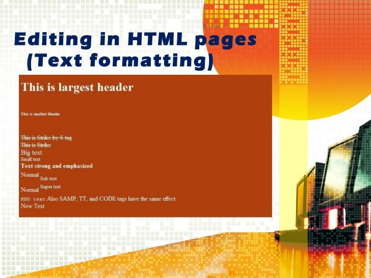 Editing in HTML pages   (Text formatting)