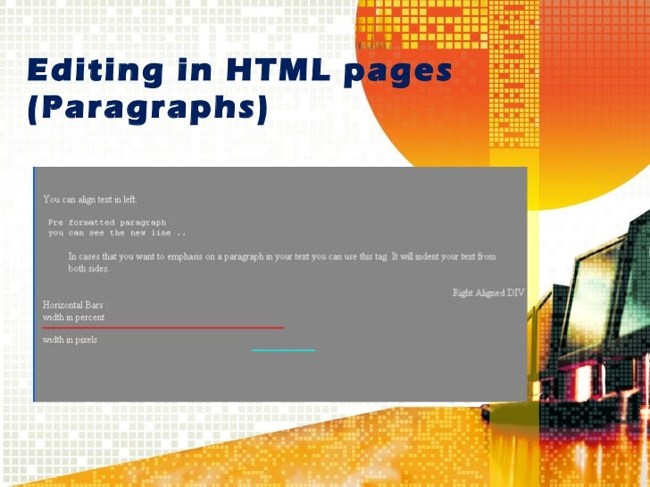 Editing in HTML pages  (Paragraphs)