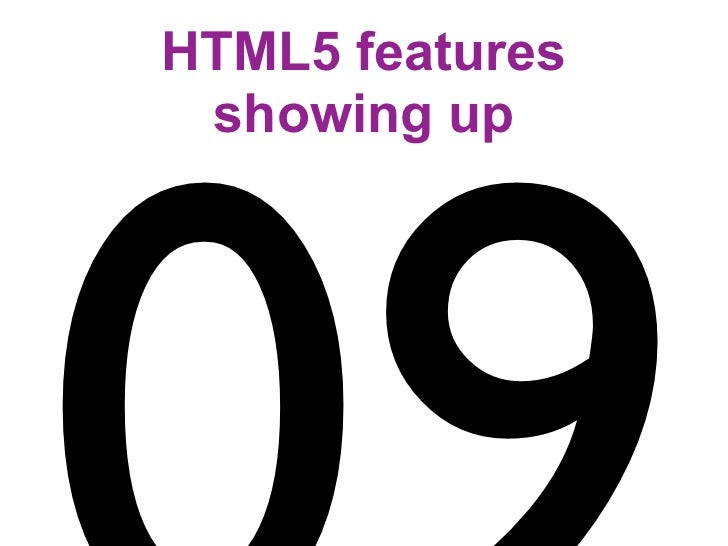 HTML5 features  showing up