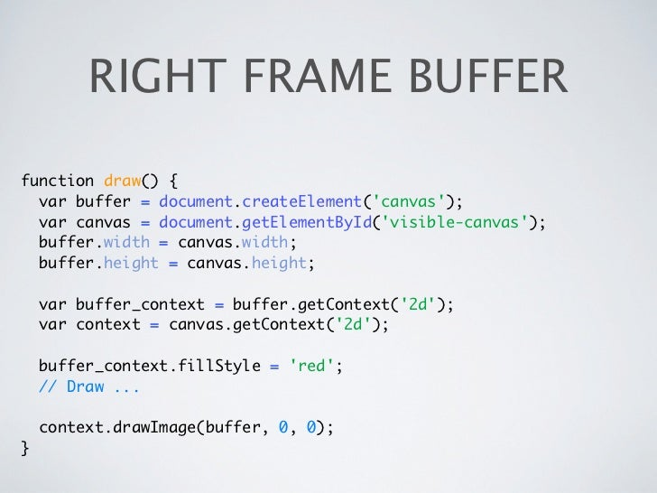 RIGHT FRAME BUFFERfunction draw() {  var buffer = document.createElement(canvas);  var canvas = document.getElementById(vi...