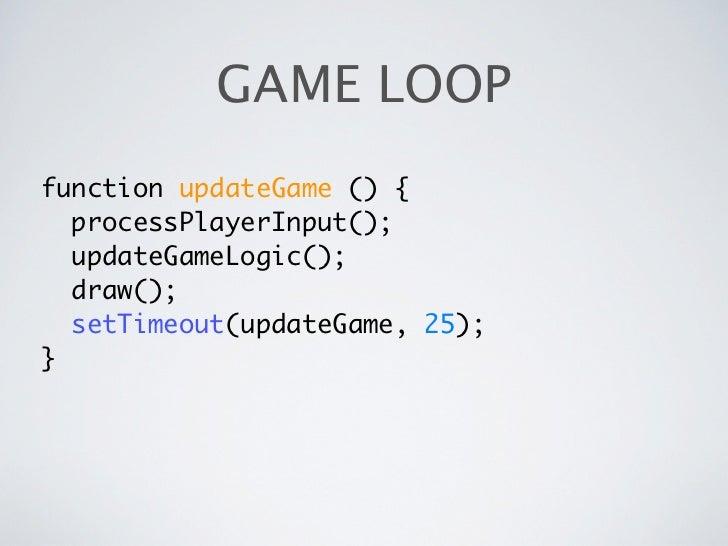 GAME LOOPfunction updateGame () {  processPlayerInput();  updateGameLogic();  draw();  setTimeout(updateGame, 25);}
