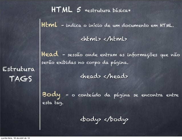 HTML 5 *estrutura básica*EstruturaHead - sessão onde entram as informações que nãoserão exibidas no corpo da página.TAGSBo...