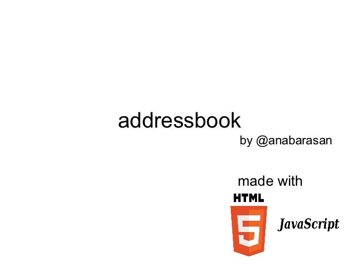addressbook made with by @anabarasan
