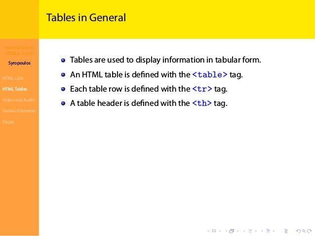 Introduction to HTML5: Part II Syropoulos HTML Lists HTML Tables Video and Audio Various Elements Finale . . . . . . . . ....