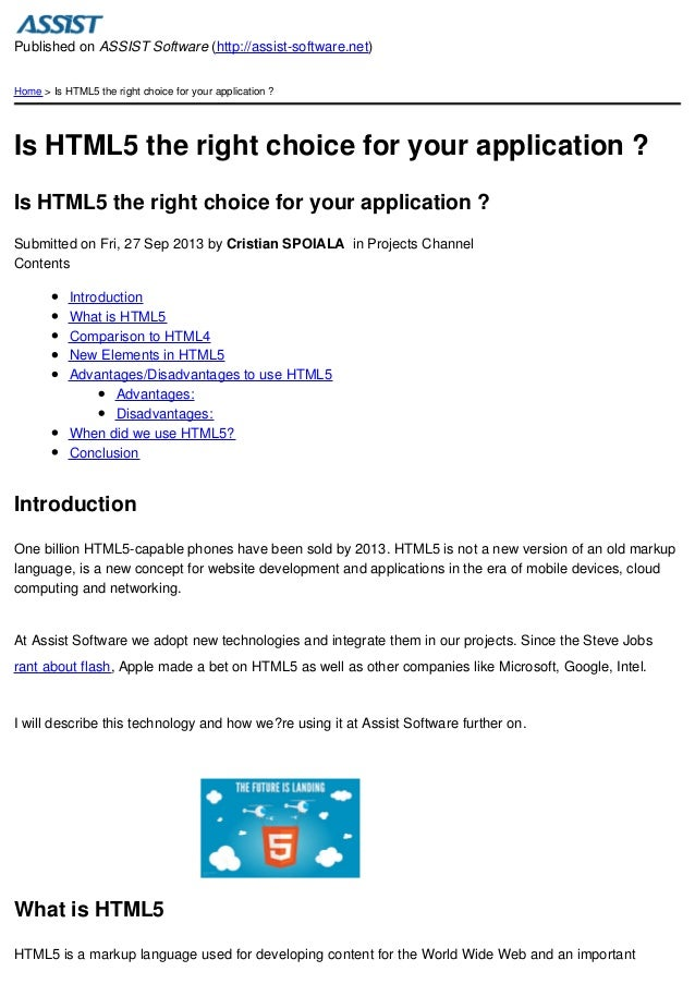 Published on ASSIST Software (http://assist-software.net) Home > Is HTML5 the right choice for your application ?  Is HTML...