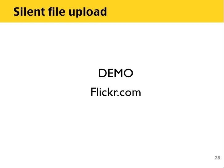 Silent file upload DEMO Flickr com
