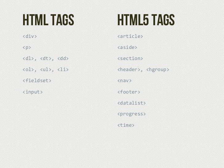 HTML Tags            HTML5 Tags<div>                <article><p>                  <aside><dl>, <dt>, <dd>   <section><ol...