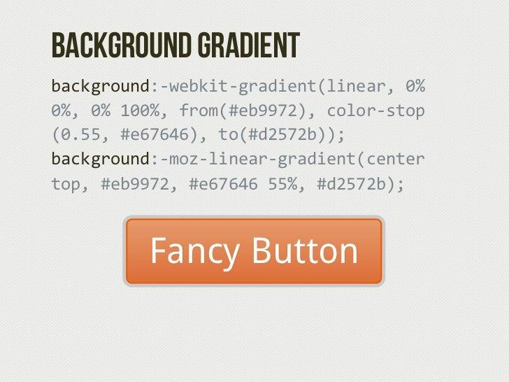 Anatomy of a CSS3 Button.btn-‐primary {padding: .5em .9em; background: #e67646; background:-‐webkit-‐gradient(lin...