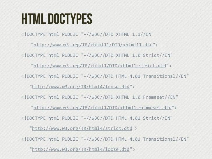 "HTML Doctypes<!DOCTYPE html PUBLIC ""-‐//W3C//DTD XHTML 1.1//EN""    ""http://www.w3.org/TR/xhtml11/DTD/xhtml11.dtd""><..."