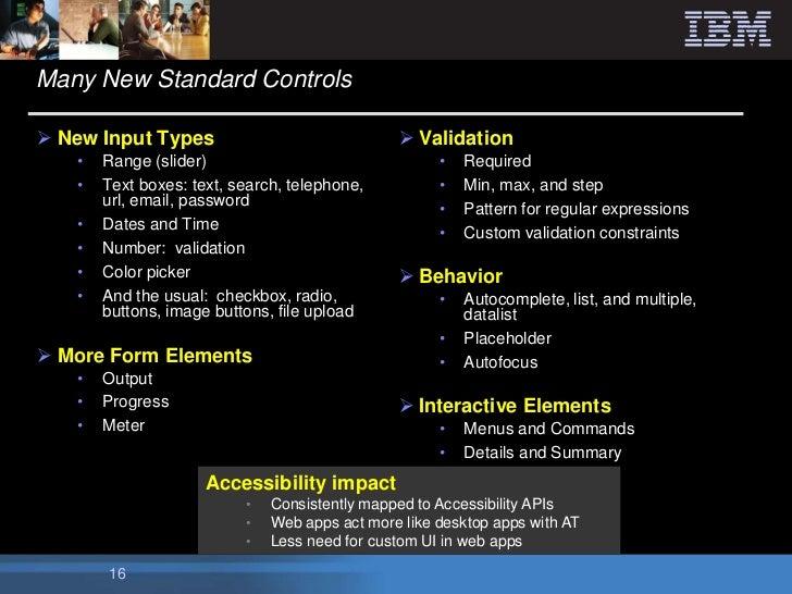 Many New Standard Controls New Input Types                               Validation   •   Range (slider)                ...