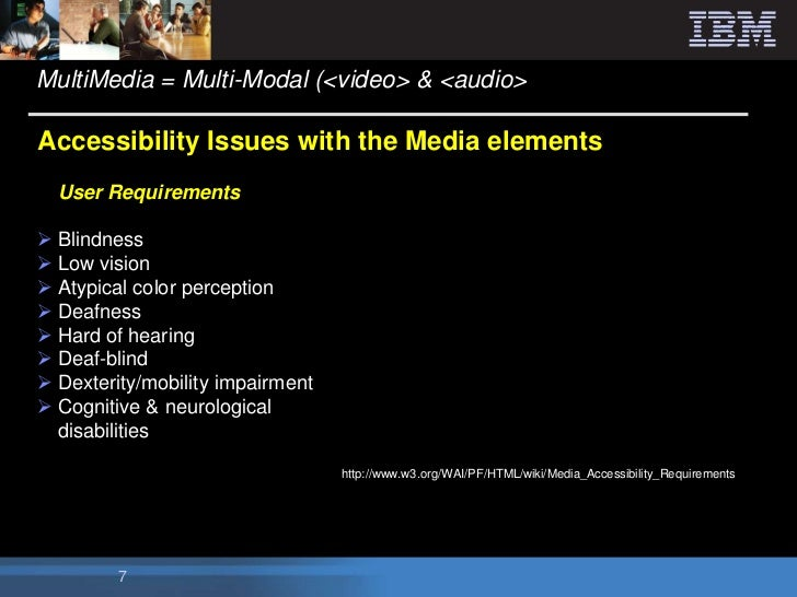 MultiMedia = Multi-Modal (<video> & <audio>Accessibility Issues with the Media elements  User Requirements Blindness Low...