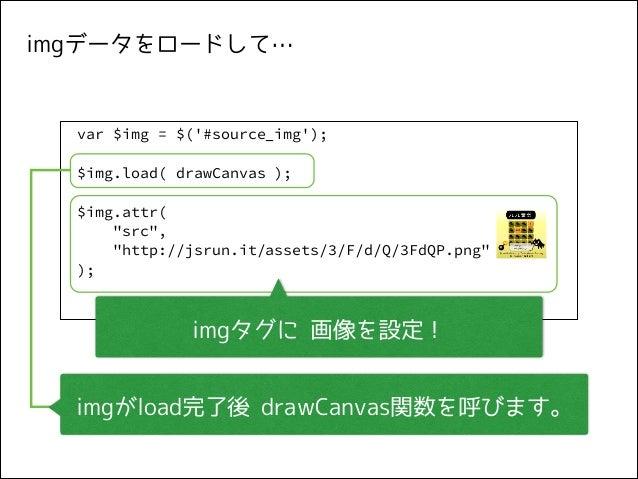 "imgデータをロードして…  var $img = $('#source_img'); ! $img.load( drawCanvas ); ! $img.attr( ""src"", ""http://jsrun.it/assets/3/F/d/Q..."