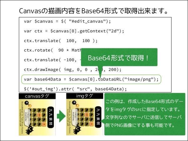 "Canvasの描画内容をBase64形式で取得出来ます。 var $canvas = $( ""#edit_canvas""); var ctx = $canvas[0].getContext(""2d""); ctx.translate( ctx.r..."
