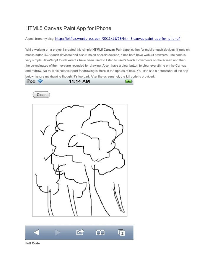 HTML5 Canvas Paint App for iPhone