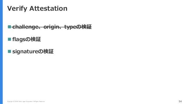 Copyright (C) 2018 Yahoo Japan Corporation. All Rights Reserved. 54 Verify Attestation  challenge、origin、typeの検証  flagsの...