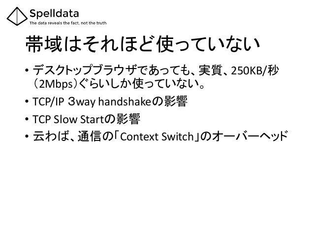 帯域はそれほど使っていない • デスクトップブラウザであっても、実質、250KB/秒 (2Mbps)ぐらいしか使っていない。 • TCP/IP 3way handshakeの影響 • TCP Slow Startの影響 • 云わば、通信の「Co...