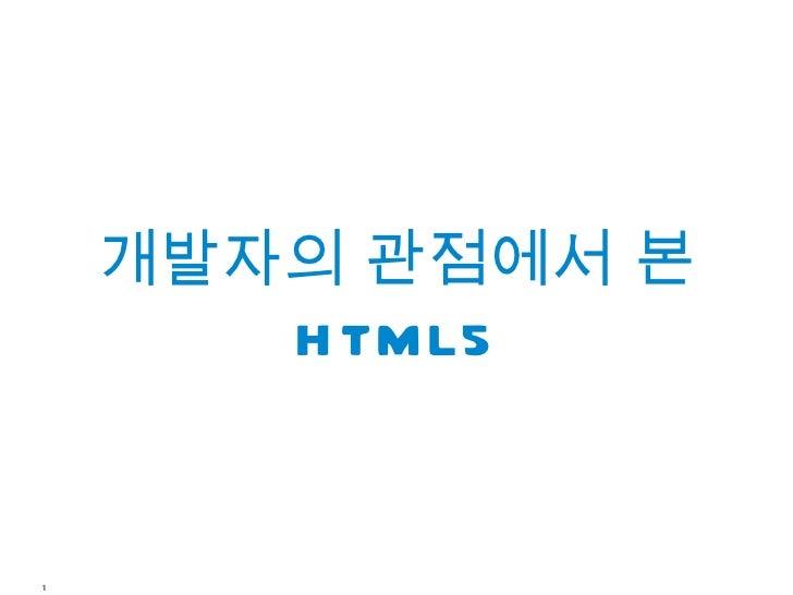 개발자의 관점에서 본       H TML51