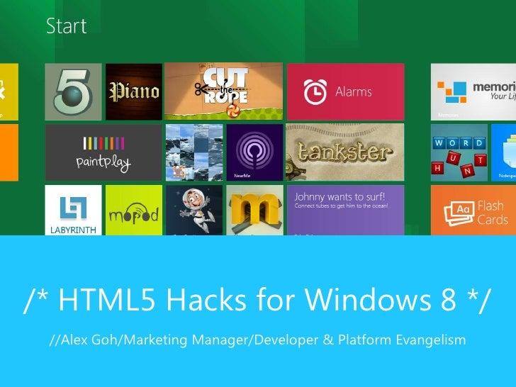 /* HTML5 Hacks for Windows 8 */ //Alex Goh/Marketing Manager/Developer & Platform Evangelism