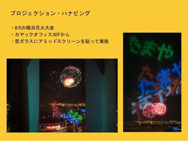 プロジェクション・ハナビング  ・8/5の横浜花火大会  ・カヤックオフィス30Fから  ・窓ガラスにアミッドスクリーンを貼って実施