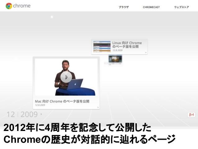 2012年に4周年を記念して公開した Chromeの歴史が対話的に辿れるページ