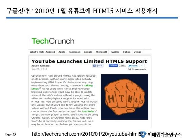 구글전략 : 2010년 1월 유튜브에 HTML5 서비스 적용개시 Page 33 http://techcrunch.com/2010/01/20/youtube-html5/