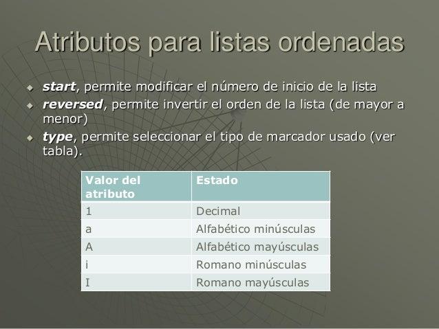 Atributos para listas ordenadas start, permite modificar el número de inicio de la lista reversed, permite invertir el o...